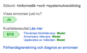 High quality score AdWords